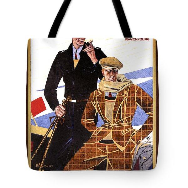 Georg Moehrlin - Ravensburg - Vintage German Fashion Advertising Poster - Wintersport Tote Bag