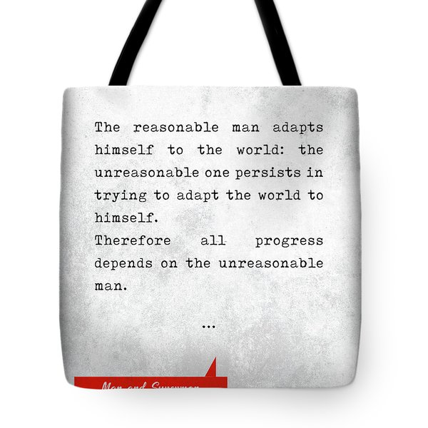 George Bernard Shaw Quotes - Man And Superman - Literary Quotes - Book Lover Gifts - Typewriter Art Tote Bag