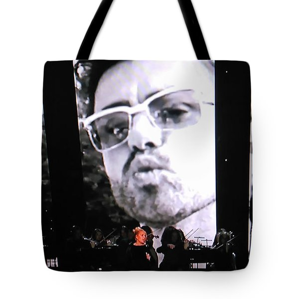 Tote Bag featuring the photograph George Michael Sends A Kiss by Toni Hopper
