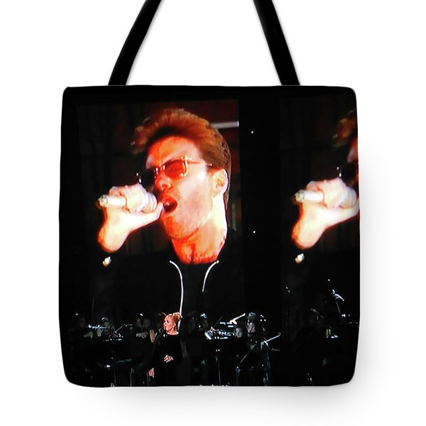 Tote Bag featuring the photograph George Michael The Passionate Performer by Toni Hopper