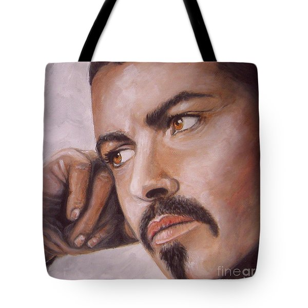 Up Close George Michael  Tote Bag