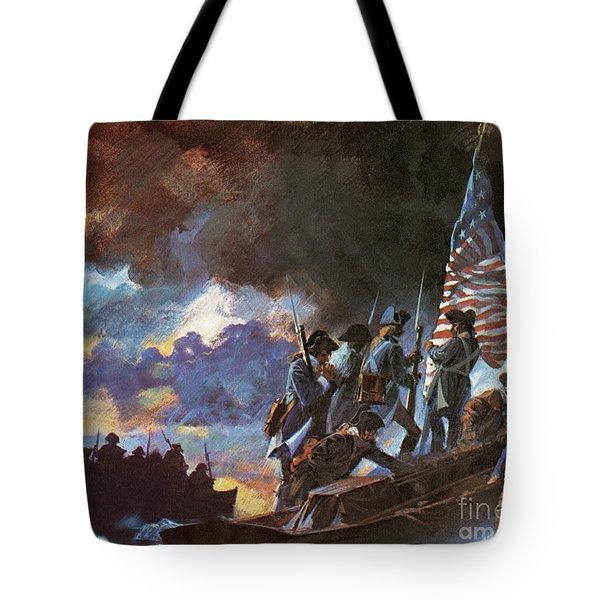 George Washington And His Men Crossing The Half Frozen Delaware River Tote Bag
