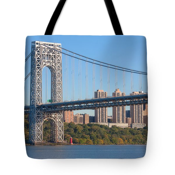 George Washington Bridge And Lighthouse II Tote Bag