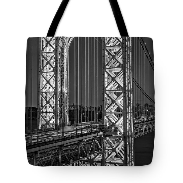 Tote Bag featuring the photograph George Washington Bridge Gwb Bw by Susan Candelario