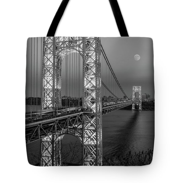 Tote Bag featuring the photograph George Washington Bridge Moon Rising Bw by Susan Candelario