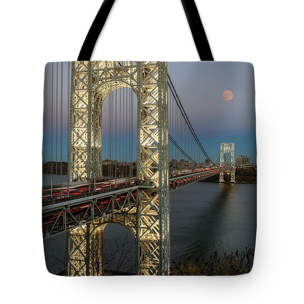Tote Bag featuring the photograph George Washington Bridge Moon Rising by Susan Candelario