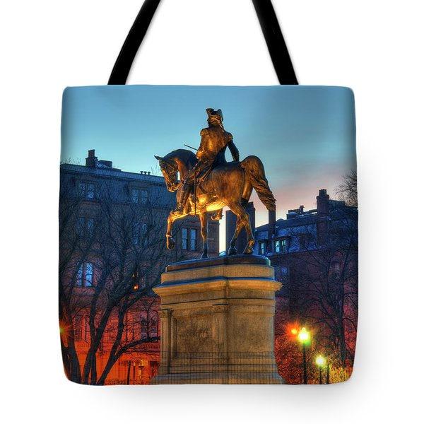 Tote Bag featuring the photograph George Washington Statue In Boston Public Garden by Joann Vitali