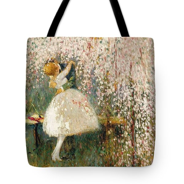 Georges Picard French 1857 1946 Romance Under The Blossom Tree Tote Bag