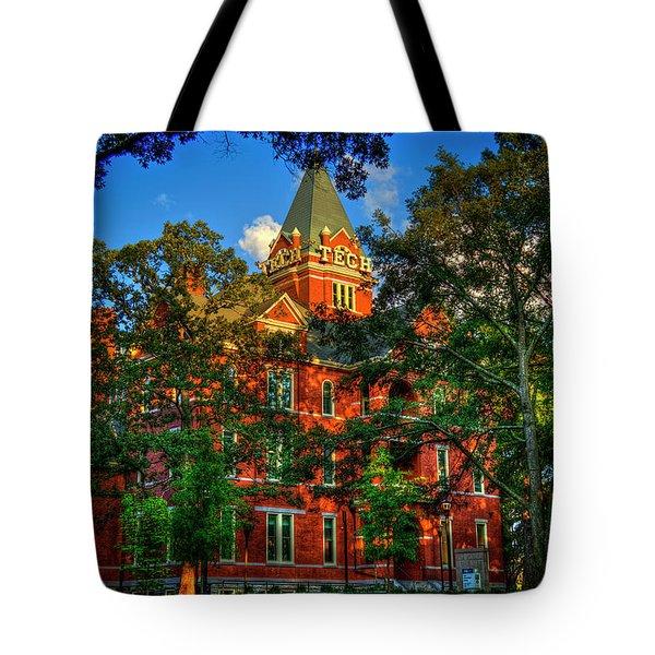 Tote Bag featuring the photograph Georgia Tech Tech Tower Sunset Ga Tech Administration Building Atlanta Art by Reid Callaway