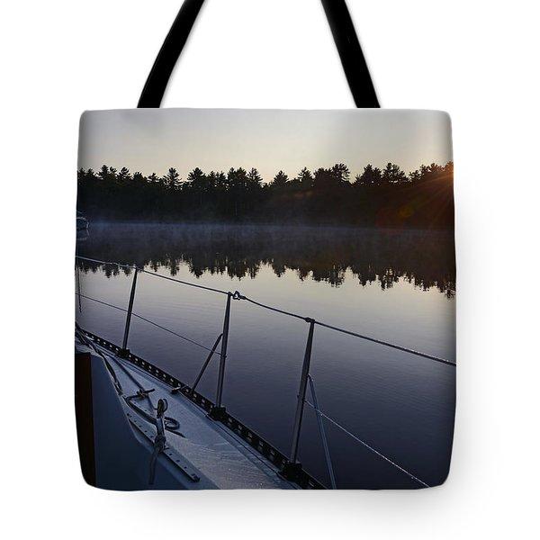 Georgian Bay Sailing Sunrise Tote Bag