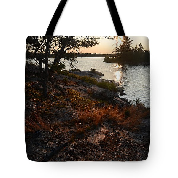 Georgian Bay Rock-wild Grass At Sunset Tote Bag