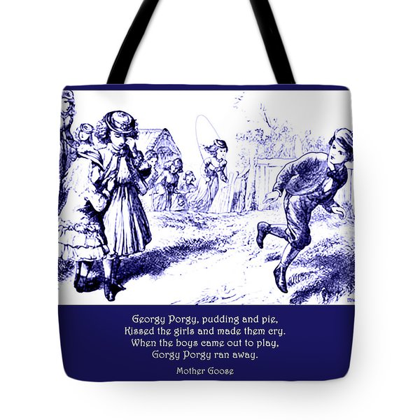 Georgy Porgy Mother Goose Illustrated Nursery Rhyme Tote Bag
