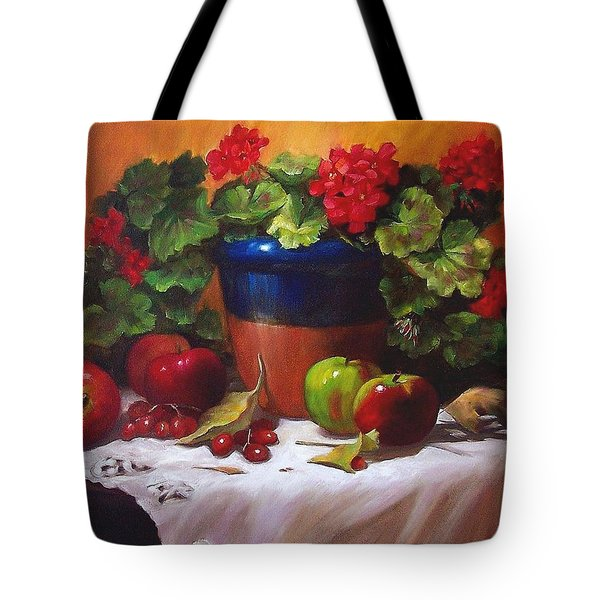 Geraniums And Apples Tote Bag by Donna Munsch