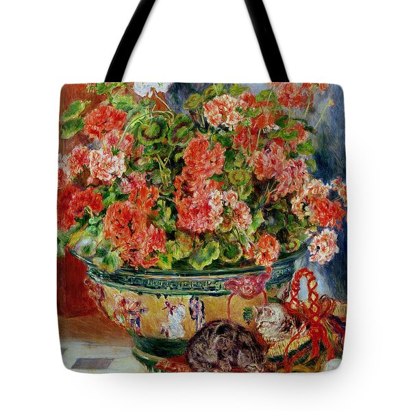 Geraniums And Cats Tote Bag by Pierre Auguste Renoir