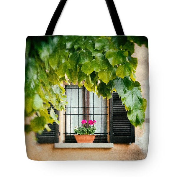 Tote Bag featuring the photograph Geraniums On Windowsill by Silvia Ganora