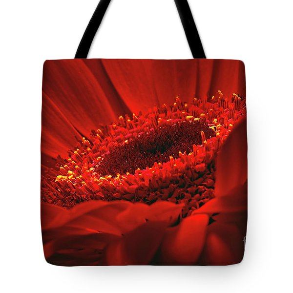 Tote Bag featuring the photograph Gerbera Daisy In Red by Sharon Talson