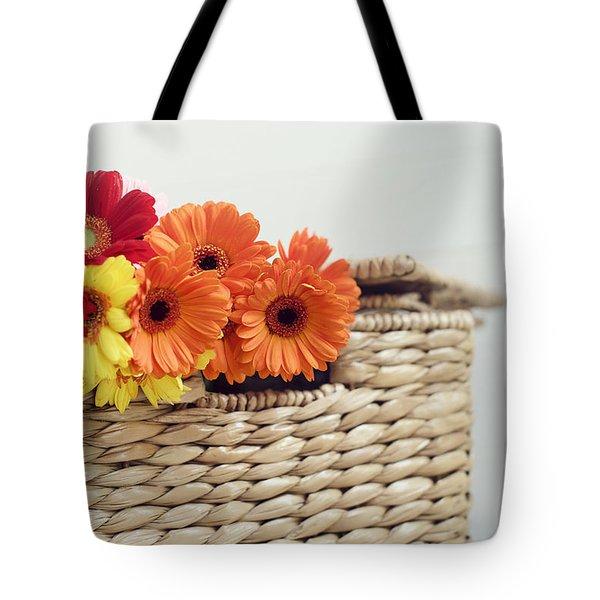 Gerbera In A Basket Tote Bag