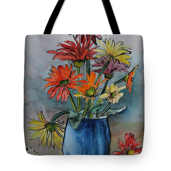 Gerberas In A Blue Pot Tote Bag