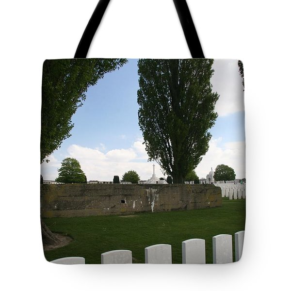 Tote Bag featuring the photograph German Bunker At Tyne Cot Cemetery by Travel Pics