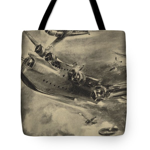 German Fighter Shooting Down A Short Sunderland Flying Boat, World War II  Tote Bag