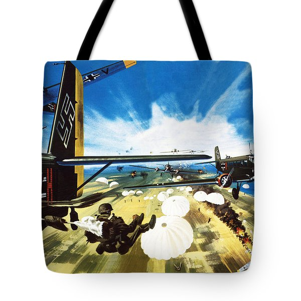 German Paratroopers Landing On Crete During World War Two Tote Bag by Wilf Hardy