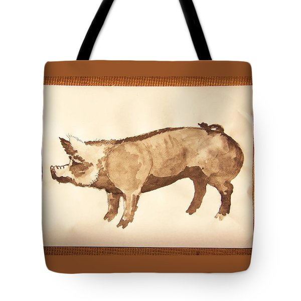 Tote Bag featuring the photograph German Pietrain Boar 31 by Larry Campbell