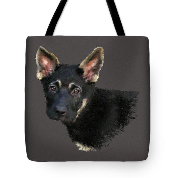 German Shepard Puppy Tote Bag by Kathie Miller