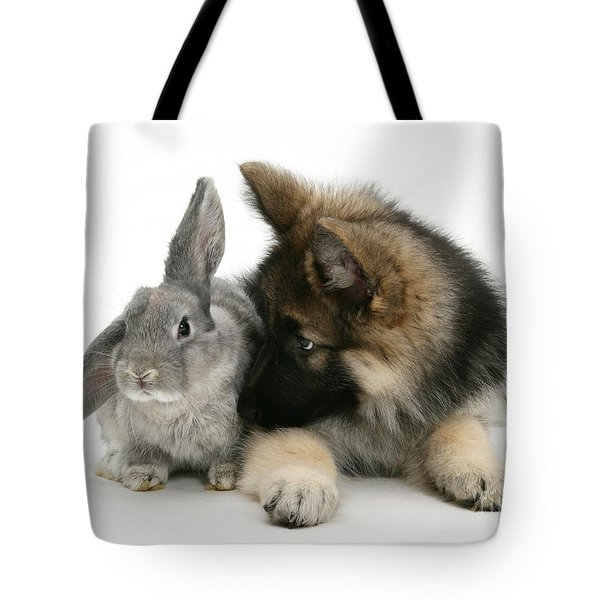 German Shepherd And Rabbit Tote Bag by Mark Taylor
