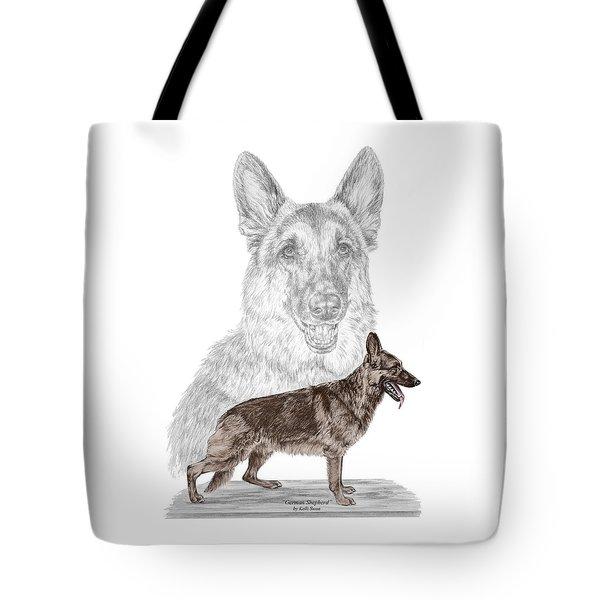 German Shepherd Art Print - Color Tinted Tote Bag