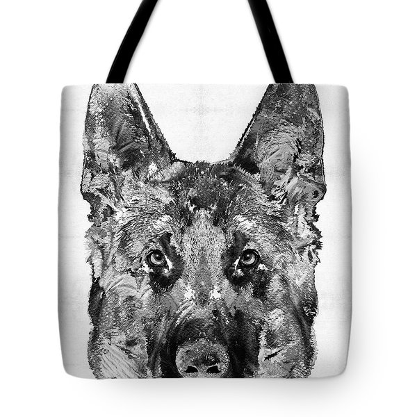 Tote Bag featuring the painting German Shepherd Black And White By Sharon Cummings by Sharon Cummings