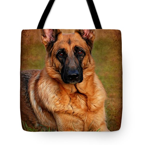 German Shepherd Dog Portrait  Tote Bag
