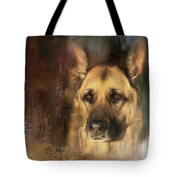 German Shepherd Portrait Color Tote Bag