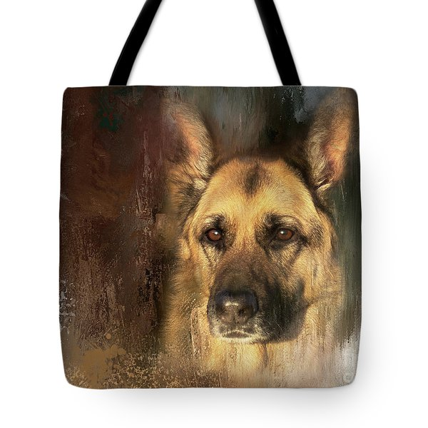 German Shepherd Portrait Color Tote Bag