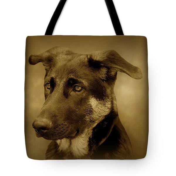 German Shepherd Pup Tote Bag by Sandy Keeton