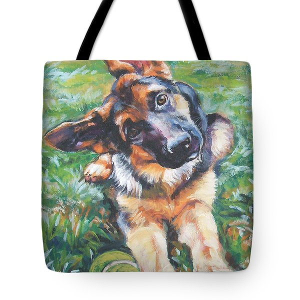 German Shepherd Pup With Ball Tote Bag by Lee Ann Shepard