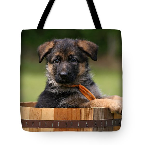 German Shepherd Puppy In Planter Tote Bag