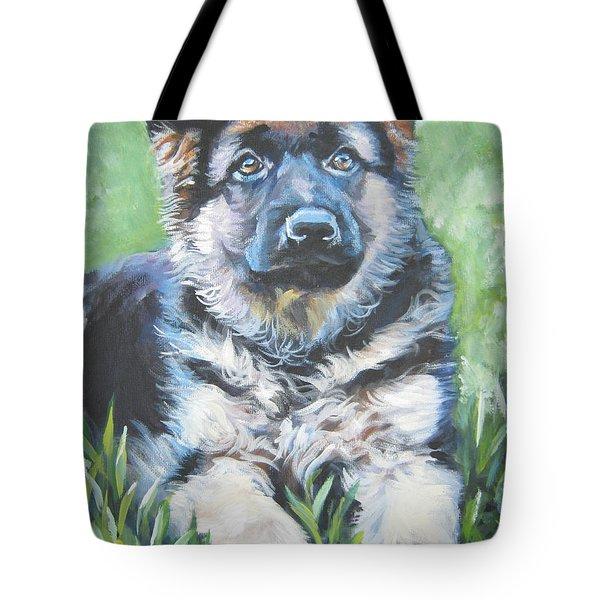 German Shepherd Puppy Tote Bag by Lee Ann Shepard