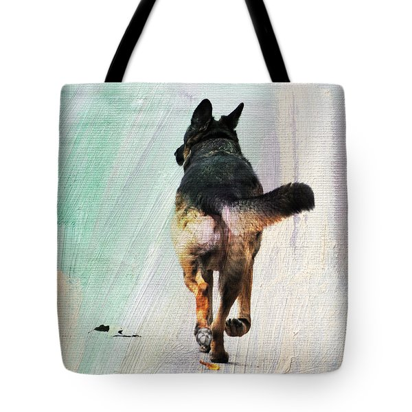 German Shepherd Taking A Walk Tote Bag