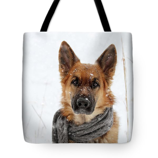 German Shepherd Wearing Scarf In Snow Tote Bag