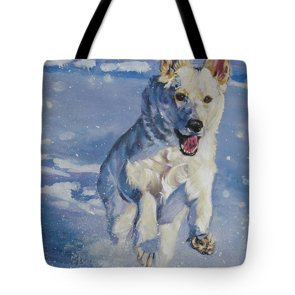 German Shepherd White In Snow Tote Bag