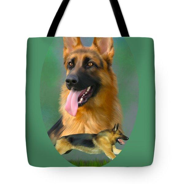 German Shepherd With Name Logo Tote Bag
