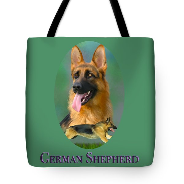 Tote Bag featuring the painting German Shepherd With Name Logo by Becky Herrera