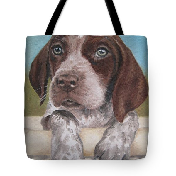 Tote Bag featuring the painting German Shorhaired Pointer Puppy by Jindra Noewi