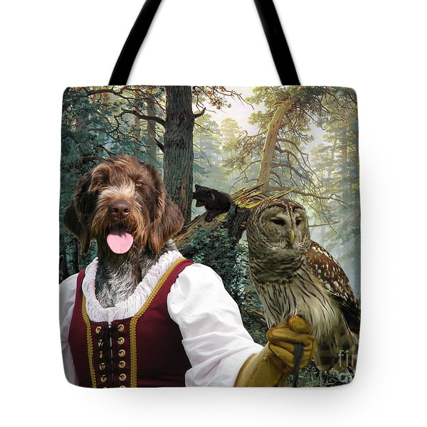 German Wirehaired Pointer Art Canvas Print - Lady Owl And Little Bears Tote Bag