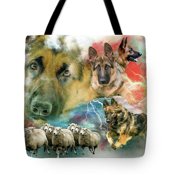 German Shepherd Collage Tote Bag