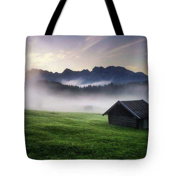 Geroldsee Forest With Beautiful Foggy Sunrise Over Mountain Peaks, Bavarian Alps, Bavaria, Germany. Tote Bag