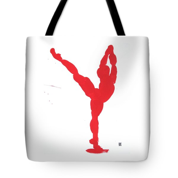 Tote Bag featuring the painting Gesture Brush Red 1 by Shungaboy X