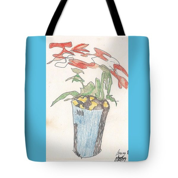 Tote Bag featuring the drawing Gesture Drawing Of Poinsettia by Rod Ismay