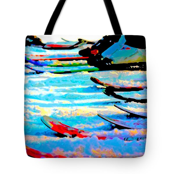 Tote Bag featuring the digital art Get In Line 2017 by Kathryn Strick