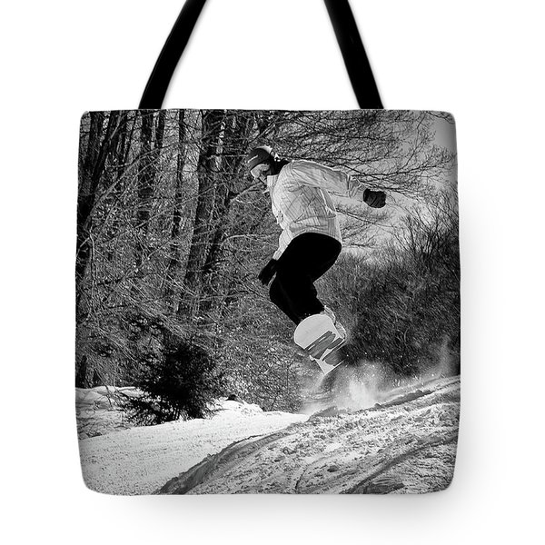 Tote Bag featuring the photograph Getting Air On The Snowboard by David Patterson